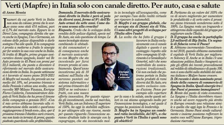 Verti Mapfre In Italia Solo Con Canale Diretto Per Auto Casa E Salute Assinews It